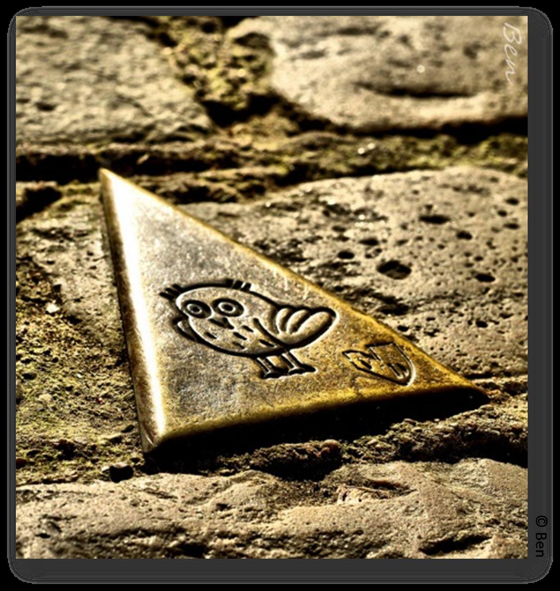 Détail d'une des célèbres Chouette-guide qui parsement les rues de DIJON (21), L'oeil de Ben