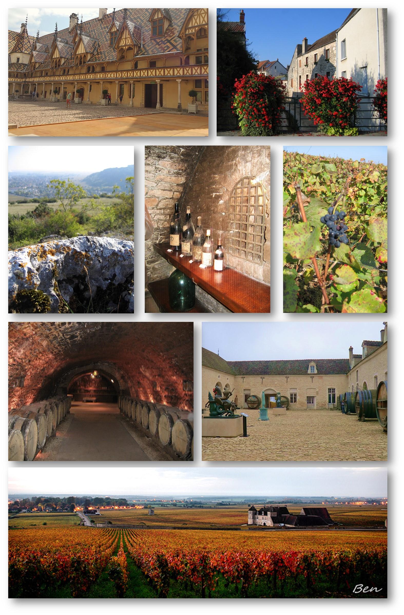 Clos d'automne : Vue sur le château du Clos-Vougeot au milieu de ses vignes (Lo'eil de Ben)